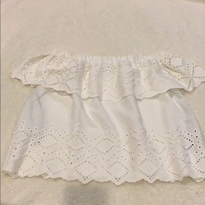 White off the shoulder top with eyelet embroidery